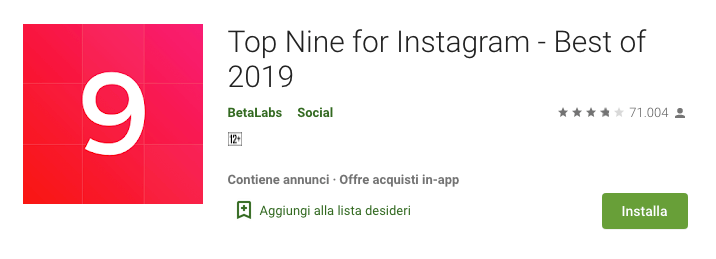 Installazione Top Nine for Instagram