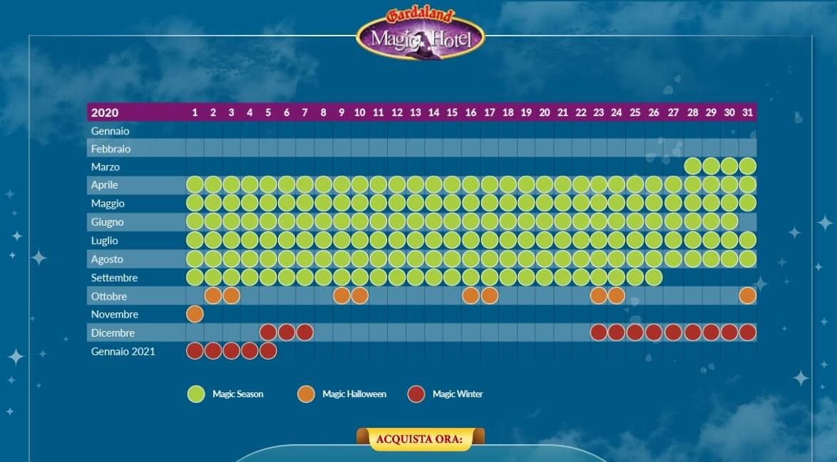 Orari Apertura Gardaland magic hotel 2020