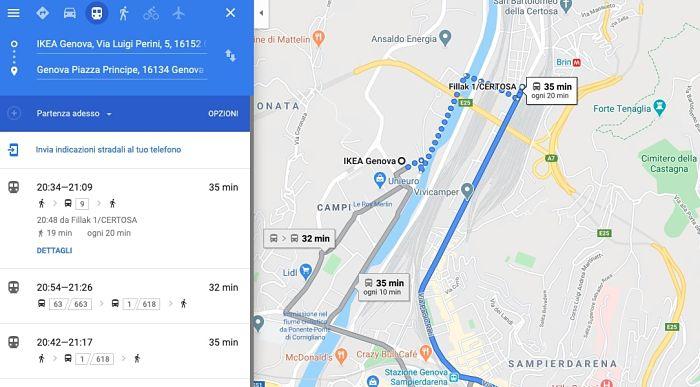 arrivare ikea genova bus