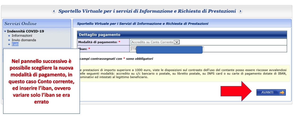 inserire nuovo iban inps