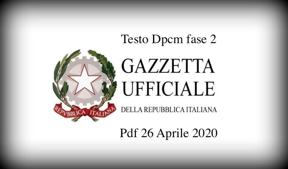 Testo Dpcm fase 2 Pdf 26 Aprile 2020