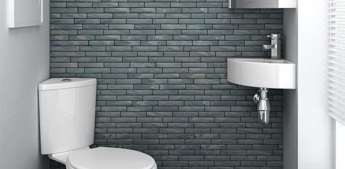 bagno piccolo piastrelle grigie